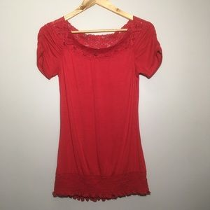 Frederick's Hollywood Red Lace Ruffle Blouse Top